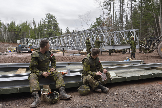 Acrow Bridge modular steel structure installed during NB military training exercises
